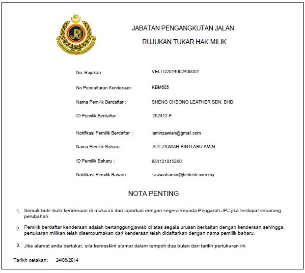 Permohonan Pertukaran Hak Milik Pemilik Berdaftar Syarikat